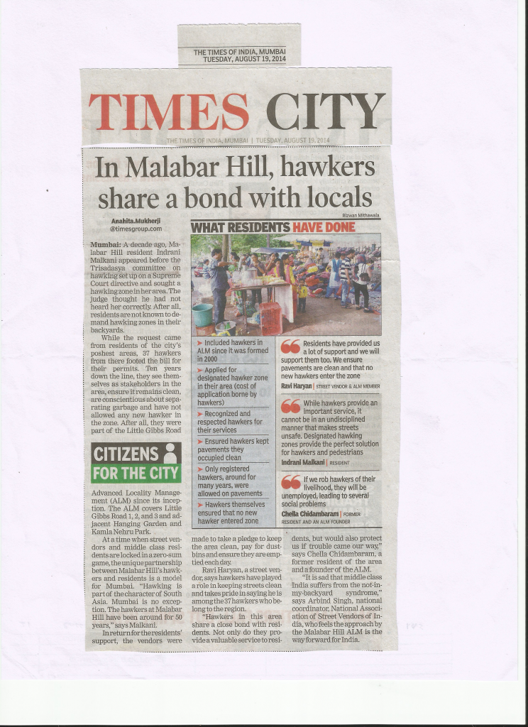 TOI Article on ALM of Little Gibbs Road and Hawkers dt 19th August 2014