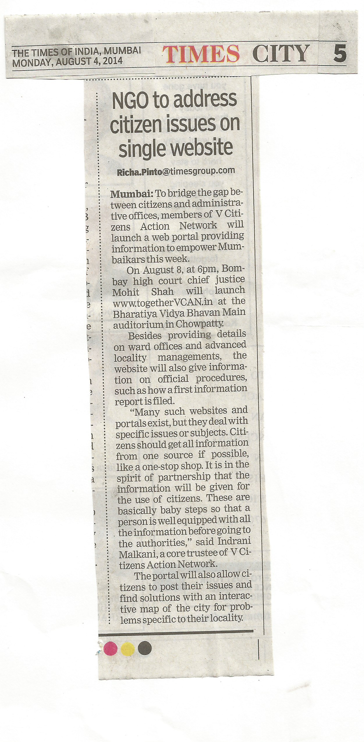 TOI Article on Pre Launch dt 5th August 14