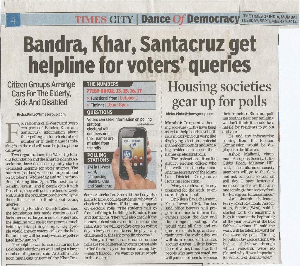 TOI Article on Hsg. Soc Dated 30th September 2014