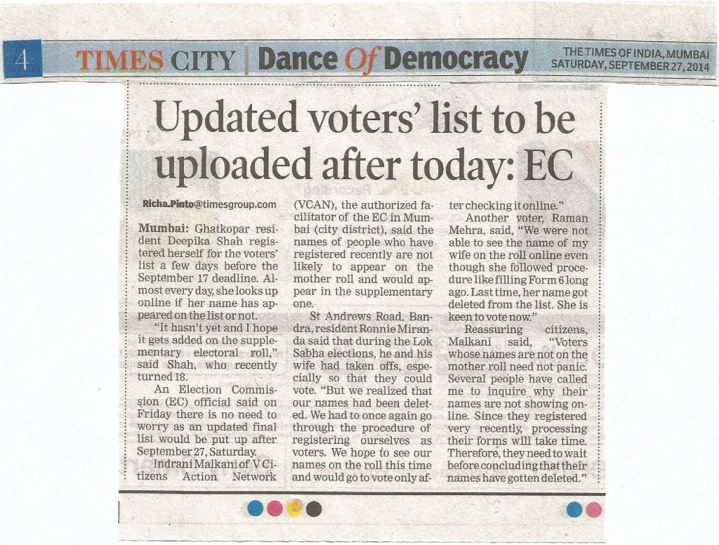 TOI Article on Portal Dated 27th September 2014
