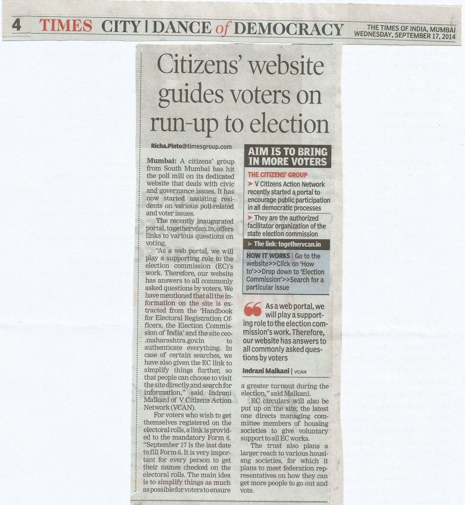 TOI Article on Portal's Election content dated 17th September 2014