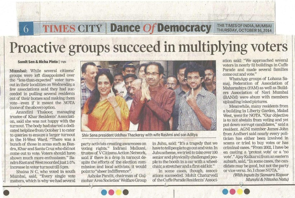 TOI Article on Citizen Groups work for Lok Sabha Elections dt 16th Oct 14