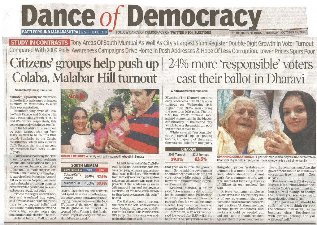 TOI Article on Voter turnout dt 16th Oct 14