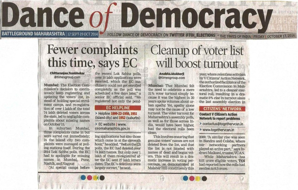 TOI Article reg Clean up of Electoral Rolls dt 17th Oct 14