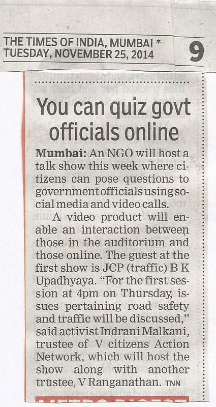 TOI Article on SOcial Sanchar dated 25th Nov 14