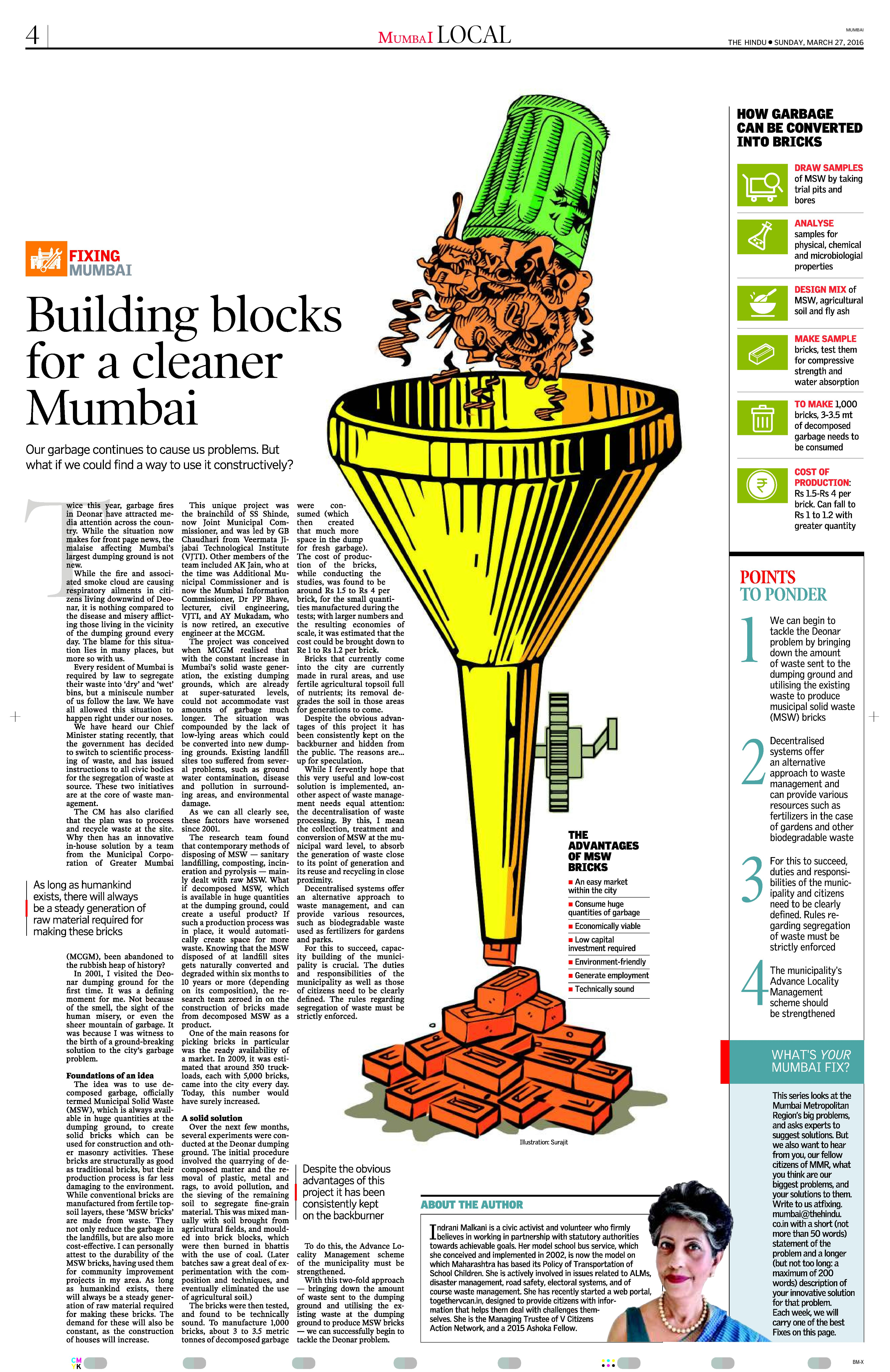 Article by Indrani Malkani published in The HINDU titled Fixing Mumbai dt 27th March 2016