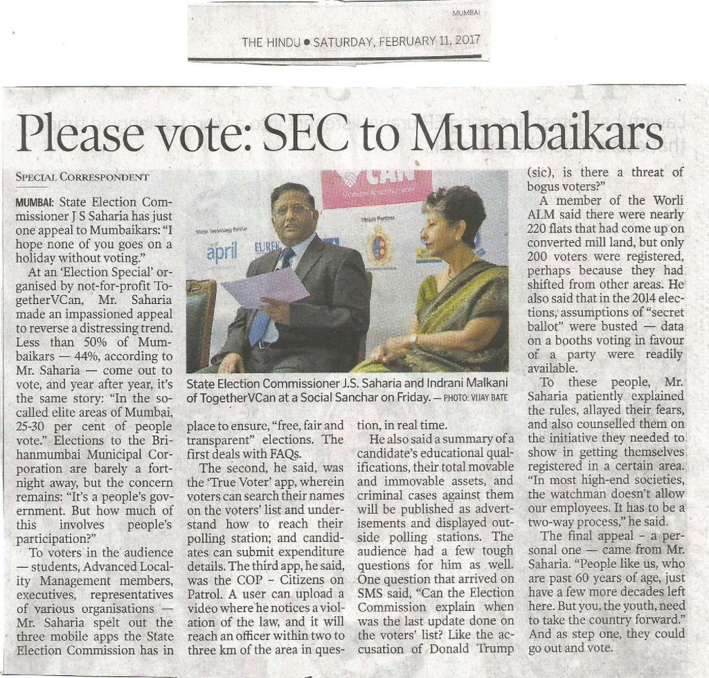 Article in The Hindu on VCAN's Election Special dated 11th Feb 2017