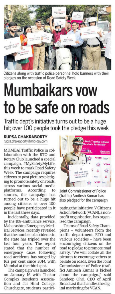 Mumbaikars Vow to be Safe on Roads